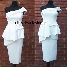 EX ASOS Off The Shoulder Bodycon Origami Peplum Midi Dress Size UK 8-16