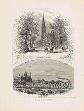 Westminister St  Providence RI -Whipple's Bridge 1872 Engraved Print