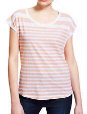New Womens Ex M&S Orange Summer Cotton Top Stripe Tee Shirt Size 10-18 RRP £12.5