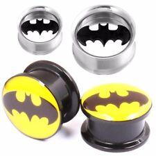 1 Pair Surgical Steel & Acrylic Batman Ear Flesh Tunnel Stretcher Plug Gauge