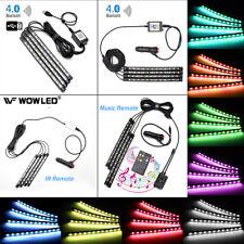 4pcs RGB LED Neon Strips IR Remote Smart Bluethooth Control Car Interior Light