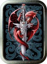 Red Dragon Sword  2oz Silver Tobacco  Tin, Storage Can, Pill Box