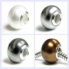.925 Sterling Silver Rondelle Pearl Bronze Grey Bead for European Charm Bracelet