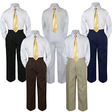 3pc Boy Suit Set Mustard Necktie Baby Toddler Kid Formal Shirt Pants S-7 Wedding
