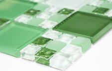 Mosaik Fliese Kombination Glasmosaik mix grün/grün matt Wand Bad Art: 78-0504_b