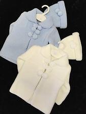 BABY BOYS BLUE-WHITE SPANISH KNITTED POM POM CARDIGAN JACKET-COAT- HAT PRAM SET