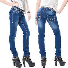 Rock Creek Designer Femme Pantalon Jeans Épais Bleu Clair Ornamental Cousu Denim