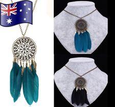 Vintage Women Boho Feather Dream Catcher Pendant Bronze Chain Necklace Jewellery