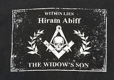 Masonic T Shirt TEE Black Freemason Hiram Skull Bones Square Compass Within
