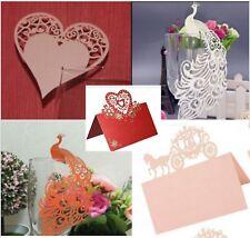 24 Lasercut Platzkarten Tischkarten Tischaufsteller Herz Pfau rosa weiß orange