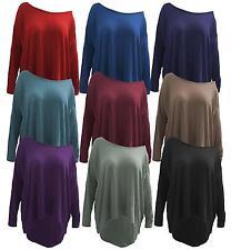 New Womens Off Shoulder Long Sleeve High Low Dip Hem Tops 8-26