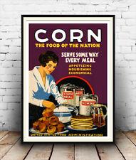 Corn  : Vintage Public information advert  Reproduction poster, Wall art.