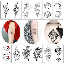Fashion Black White Drawing Sticker Flower Body Art Floral Tattoos Temporary 1PC