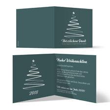 Firmen Weihnachtskarten Grußkarten - gezeichneter Tannenbaum in Blaugrün