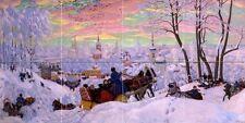 winter holiday horse B. Kustodiev Tile Mural Wall Backsplash Art Marble Ceramic