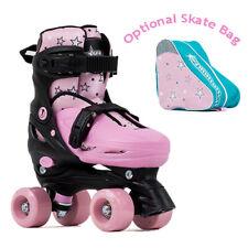 SFR Nebula Adjustable Kids Pink Quad Roller Skates - Optional Skate Bag