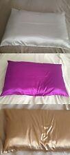 Nouveau Blanc & purple & café Luxe Naturel 19 momme est soie taie d'oreiller