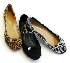 Womens Ballet Flats NEW Zebra Leopard Black Animal Print Jewel Evening Low Heel