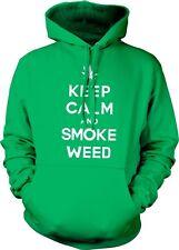 Keep Calm And Smoke Weed Marijuana Leaf Pot Mary Jane Joke Fun Hoodie Sweatshirt