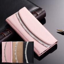 Bling Strass Luxus Leder Handy Schutz Hülle Tasche Glitzer Flip Wallet Card Case