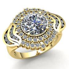 2carat Round Cut Diamond Ladies Bridal Solitaire Engagement Ring 18K Gold
