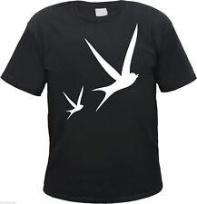 SCHWALBEN Herren T-Shirt - schwarz/weiss - S bis 3XL - rockabilly vogel swallow