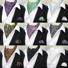 New Men's Silk Ascot Tie Set Cravat Ascot Paisley Floral Handkerchief Woven Ties