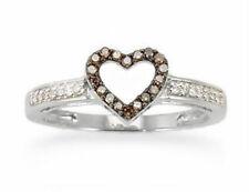 Chocolate Brown Diamond Heart Ring 10K White Gold Brown Diamond Band.12ct