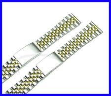 18mm 20mm Stainless Steel 2 Tone Flat End Jubilee Watch Band Bracelet