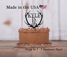 Happy Birthday Deer Antler, Any Age, Name Cake Topper, Acrylic, Deer, LT1035