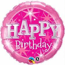 Joyeux Anniversaire étoiles rose brillant 45.7cm Fête Ballon plat Qualatex