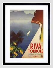 Viaggi turismo RIVA TORBOLE Lago Garda ITALIA BLACK FRAMED ART PRINT b12x4687