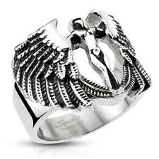 Anillo de acero inoxidable arcángeles ala de ángel diosa Biker rocker Gothic plata Silver
