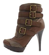 NEW Brown Platform Mid_Calf Buckle Dress Heels Boots