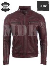 MDK Men's Real Leather Shoulder Detail Fashion Jacket (44T9)