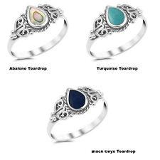 Multi Turquoise, BLACK ONYX, Abalone Teardrop Shape .925 Sterling Silver Ring
