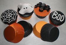 Halloween 72 Naranja / Negro Mix Láminas / papel Cupcake / Muffin Horno casos