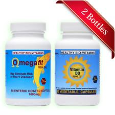 Halal Omega3 Fish Oil + Vitamin D3 5000 IU - Made in USA by Healthy Bio-Vitamins