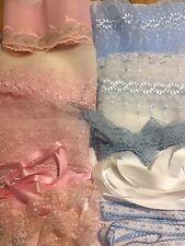 Pink  Blue Or  Ivory Organza Lace & Ribbon Bundles 10 Meters Beautiful qaulity.
