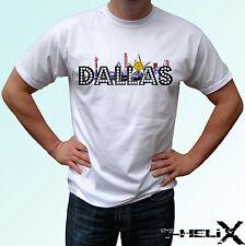 Dallas-Blanco T Shirt Top EE. UU. Flag Diseño de Texas-para Hombre Mujer Niños Bebé Tamaños
