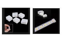 2X TAPPO SILICONE GUAINA STRISCIA LED 8mm 10mm 12mm 3528 5050 smd cappuccio clip