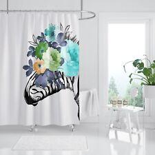 3D Zebra Blume 32 Duschvorhang Wasserdicht Faser Bad Daheim Windows Toilette DE