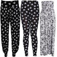 New Womens Plus Size Skull Head Pirate Print Maxi Leggings Trouser Palazzos 8-30