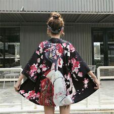Lady Girls Japanese Kimono Coat Loose Yukata Outwear Tops Retro Floral Fashion