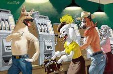 "ARTHUR SARNOFF Poster or Canvas Print ""Casino Slot Machine Gambling Dogs"""