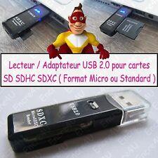 Lecteur de cartes SD Micro SD SDHC SDXC UHS1 Type Clé USB 2.0 ( coloris Noir )