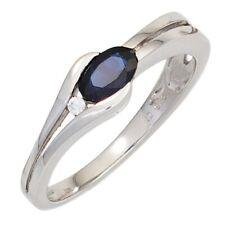 Ring Damenring Saphir Safir blau dunkelblau Diamant Brillant 333 Gold Weißgold