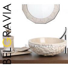 Marble Stone Sink Bathroom Basin Wash Vanity Bowl Cream Round Crema Marfil R17