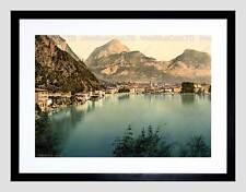 Fotografia VINTAGE Riva Lago di Garda ITALIA NUOVO NERO Framed Art Print b12x11706
