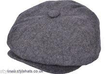 Plain Black Grey News Boy Baker Boy Gatsby Hat 8 Panels G&H Hats & Caps